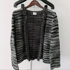 Chico's Black and White Tweed Sweater Cardigan